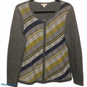 Talbots gray striped cardigan